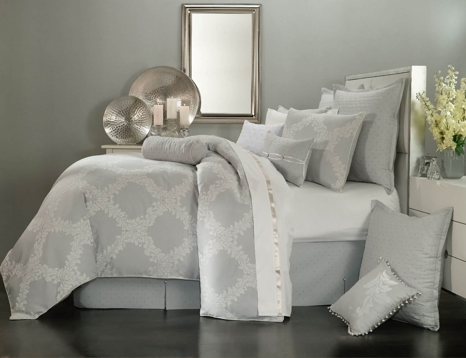 Acanthus Arbor Grey By Waterford Luxury Bedding