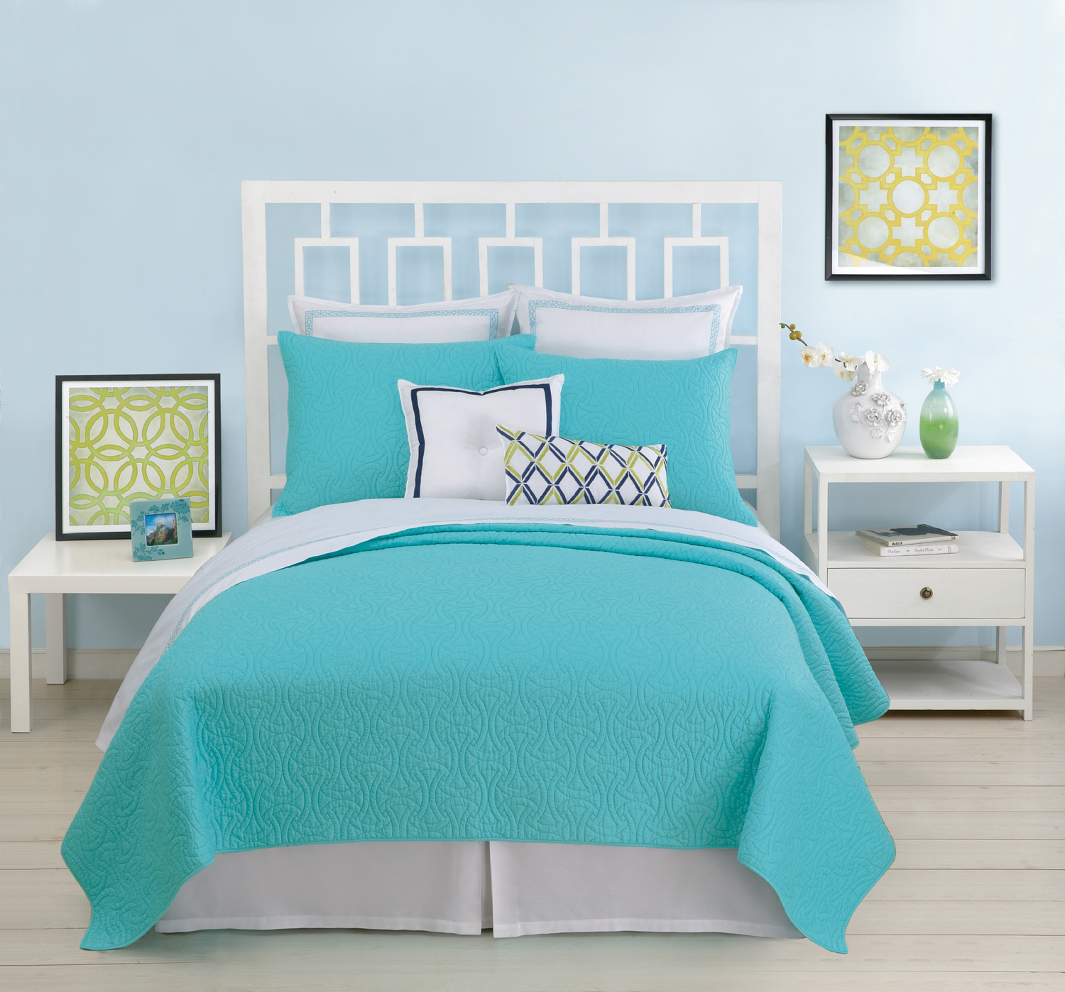 Santorini Coverlet Turquoise By Trina Turk Bedding