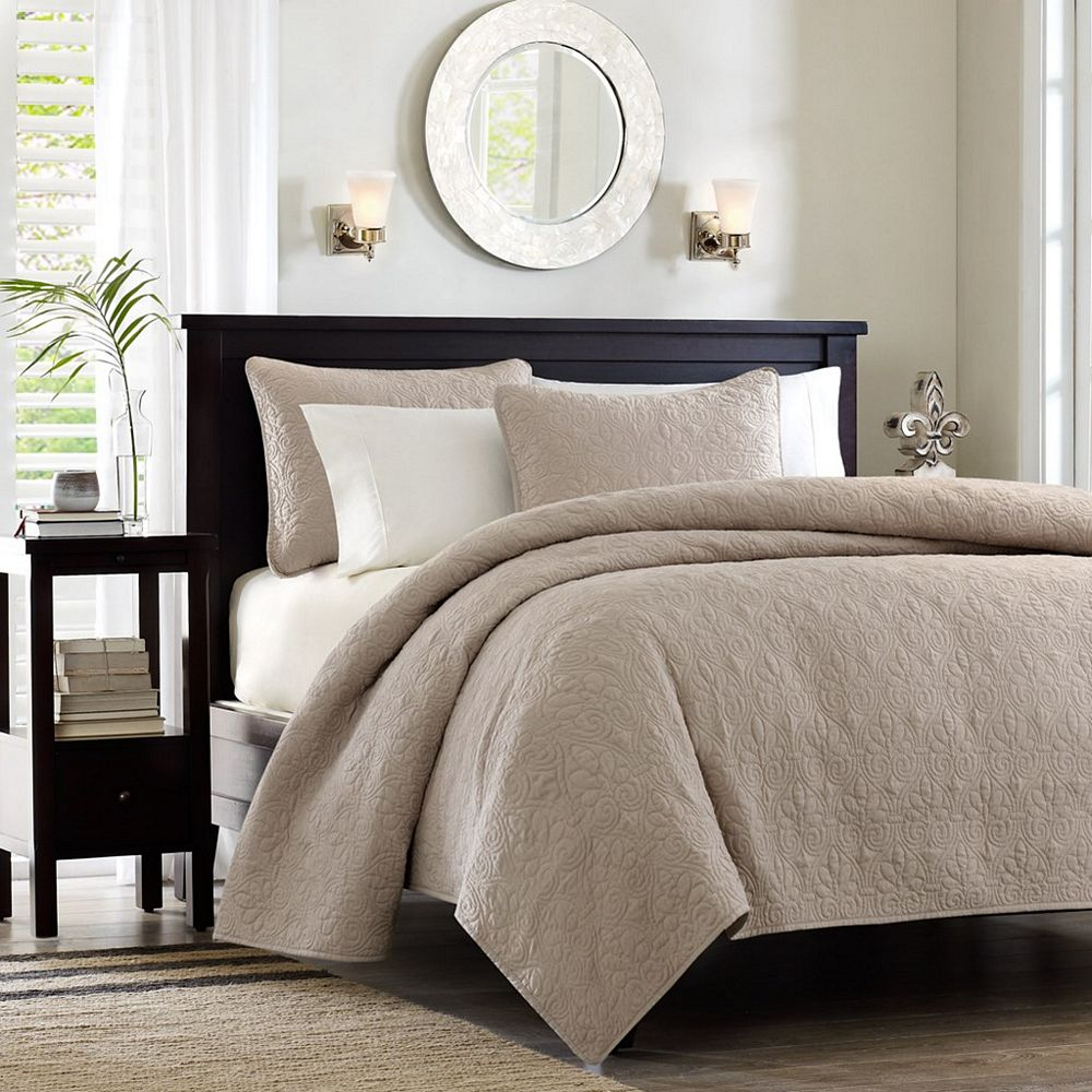 Quebec khaki coverlet by madison park for Bedroom bed