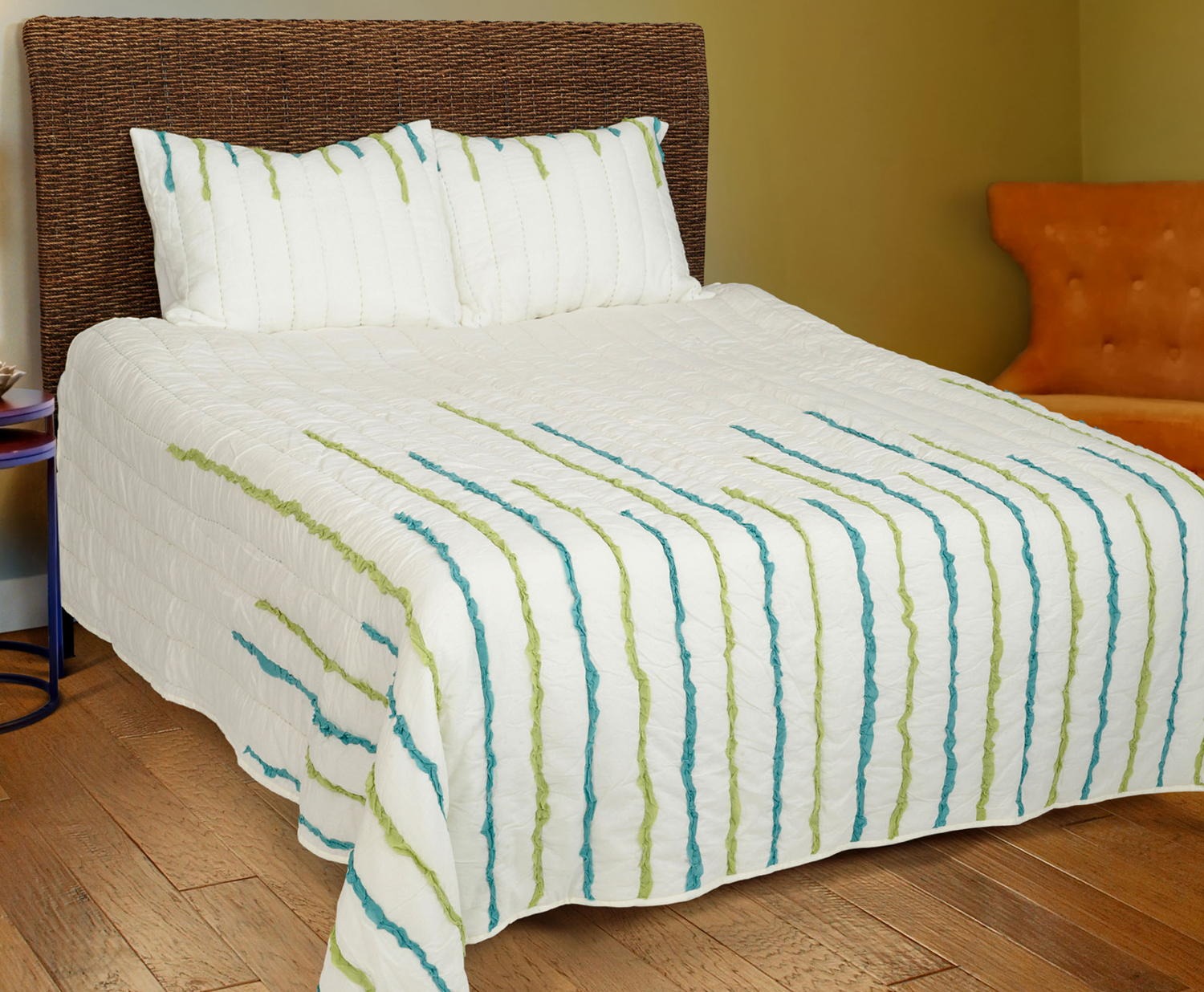 Streamers Lime Teal By Rizzy Home Bedding