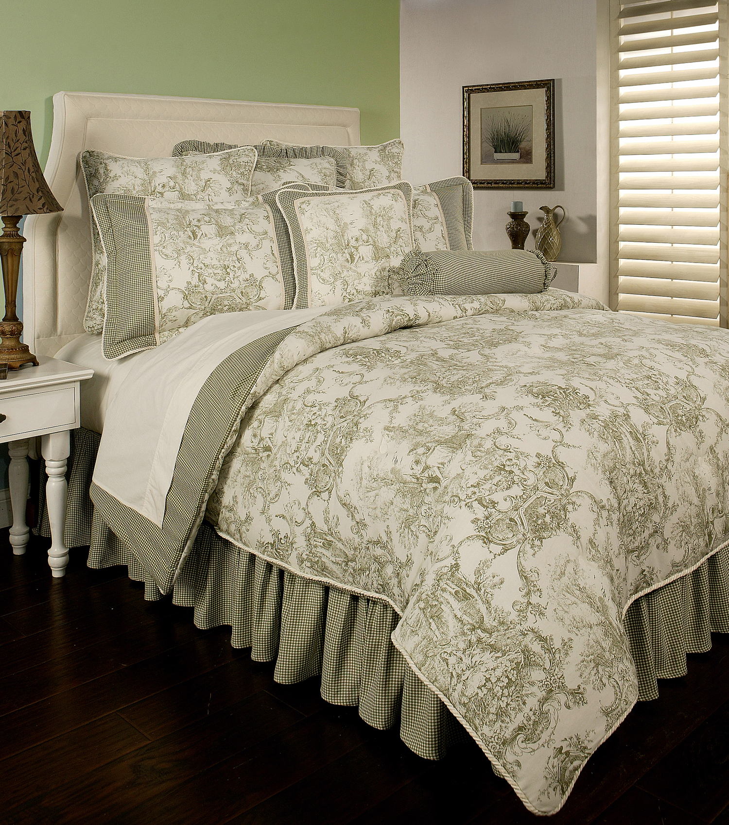 Country toile sage by sherry kline beddingsuperstore com
