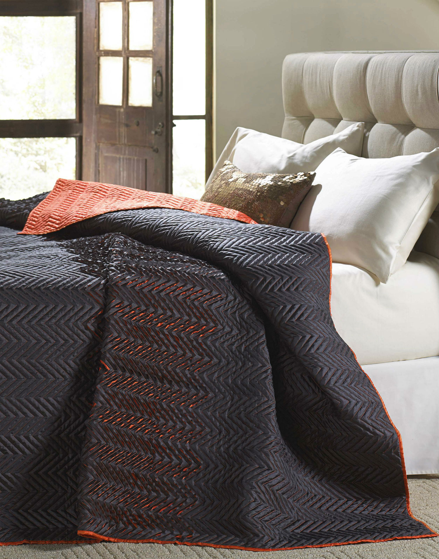 Tangier Charcoal & Orange by Cloud 9 Quilts