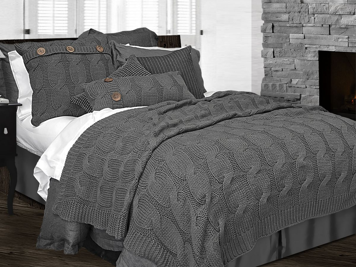 Sinclair charcoal grey by alamode home for Housse couverture