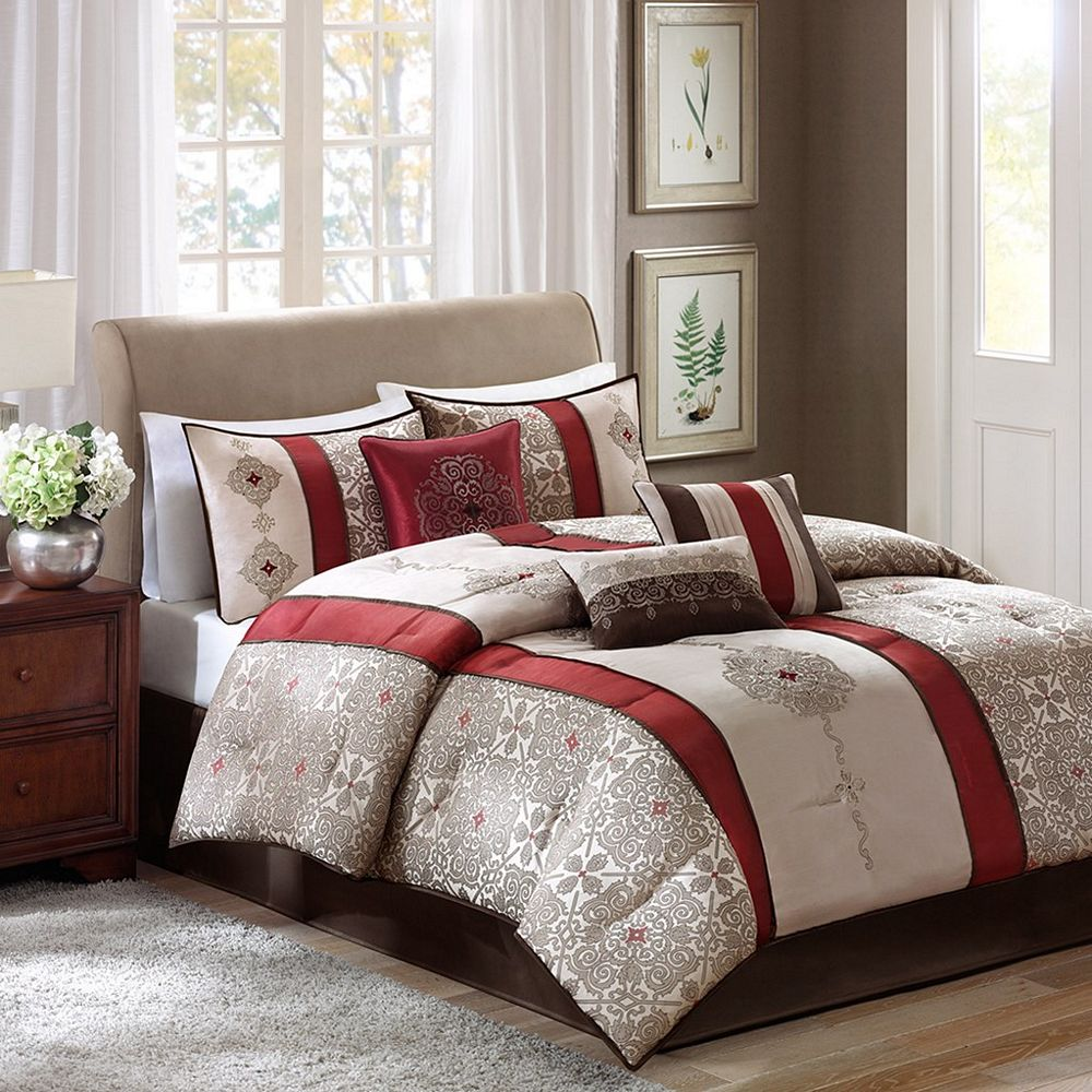Donovan by madison park Master bedroom with red bedding