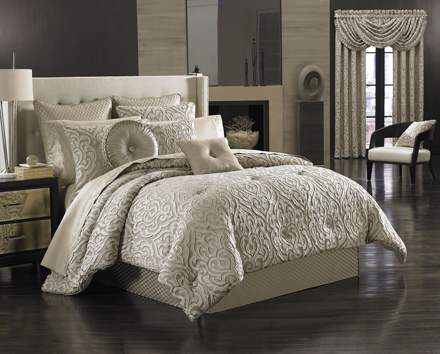 latest waterford piece landon comforter set gold bedding products sets queen by paisley taupe angle