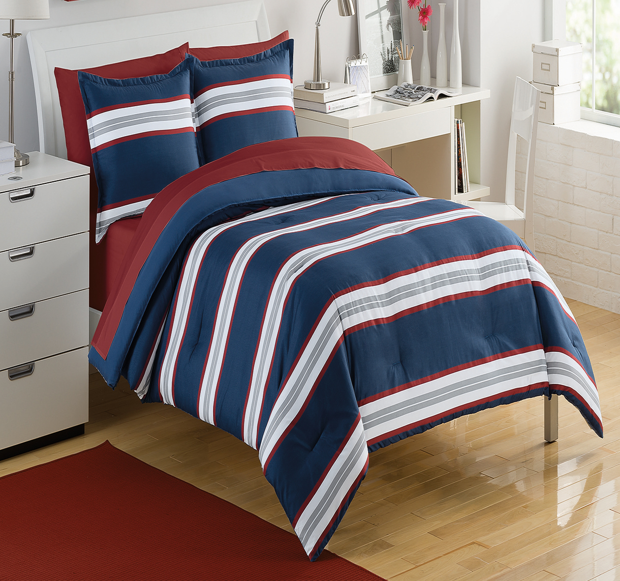 Rugby Stripe Navy Red By Izod Bedding Beddingsuperstore Com