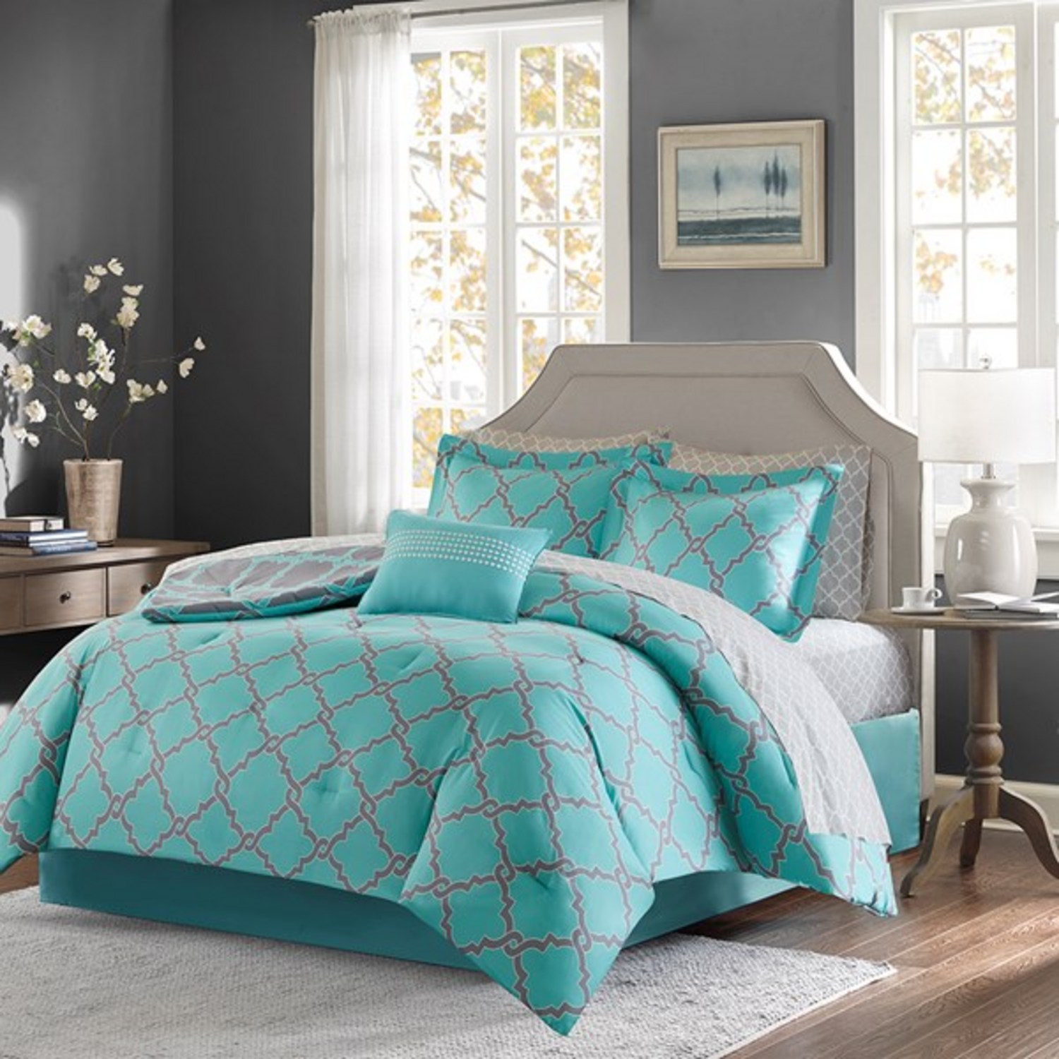 Merritt Aqua Grey By Madison Park Beddingsuperstore Com