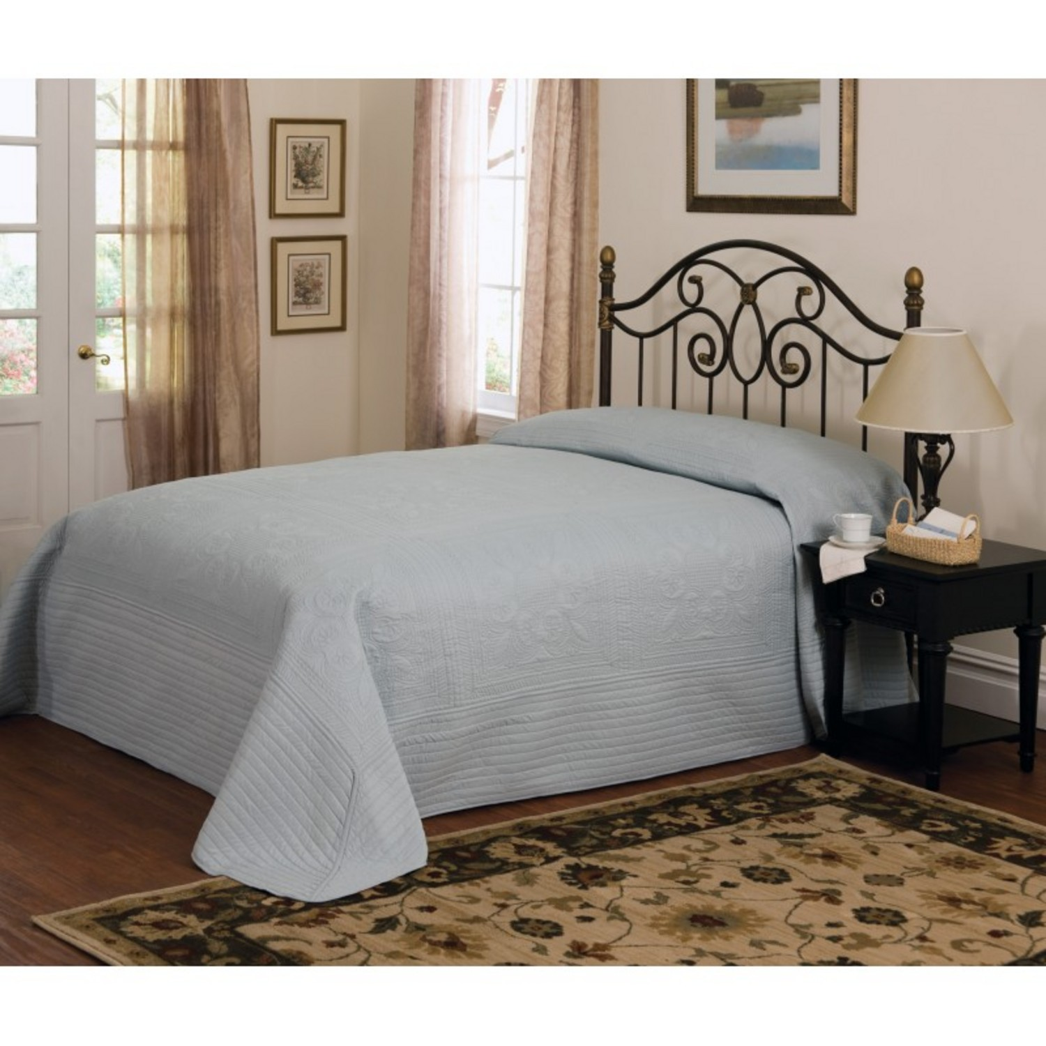 French Tile Quilted Dusty Blue Bedspread By American