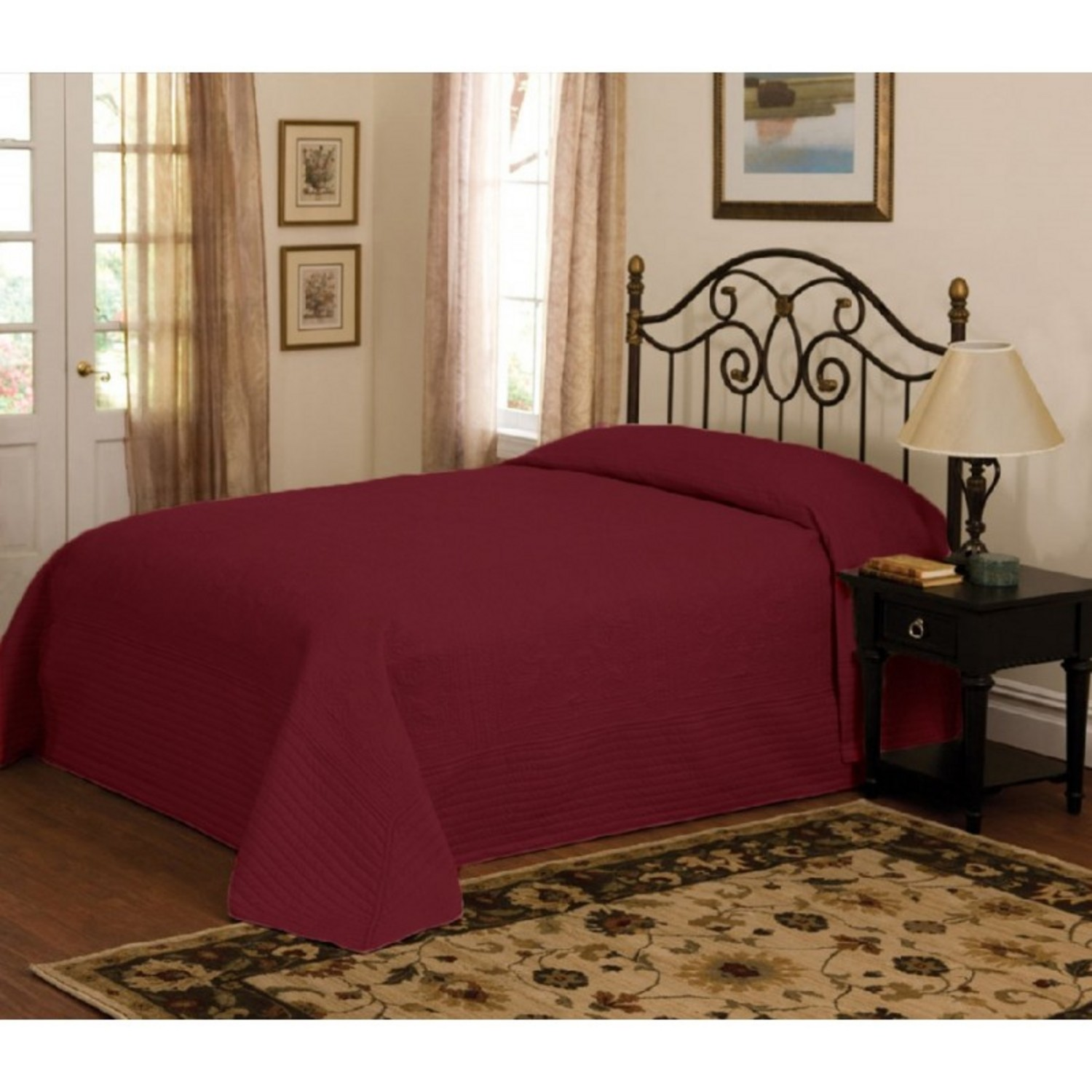 French Tile Quilted Deep Red Bedspread By American