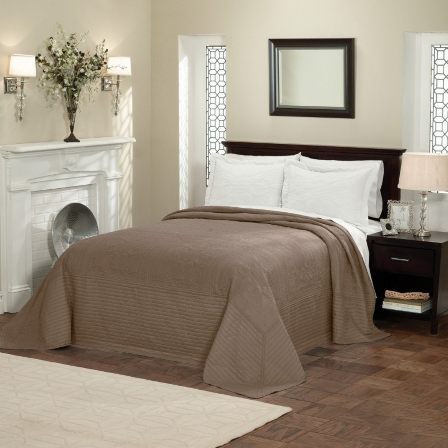 French Tile Quilted Taupe Bedspread By American Traditions