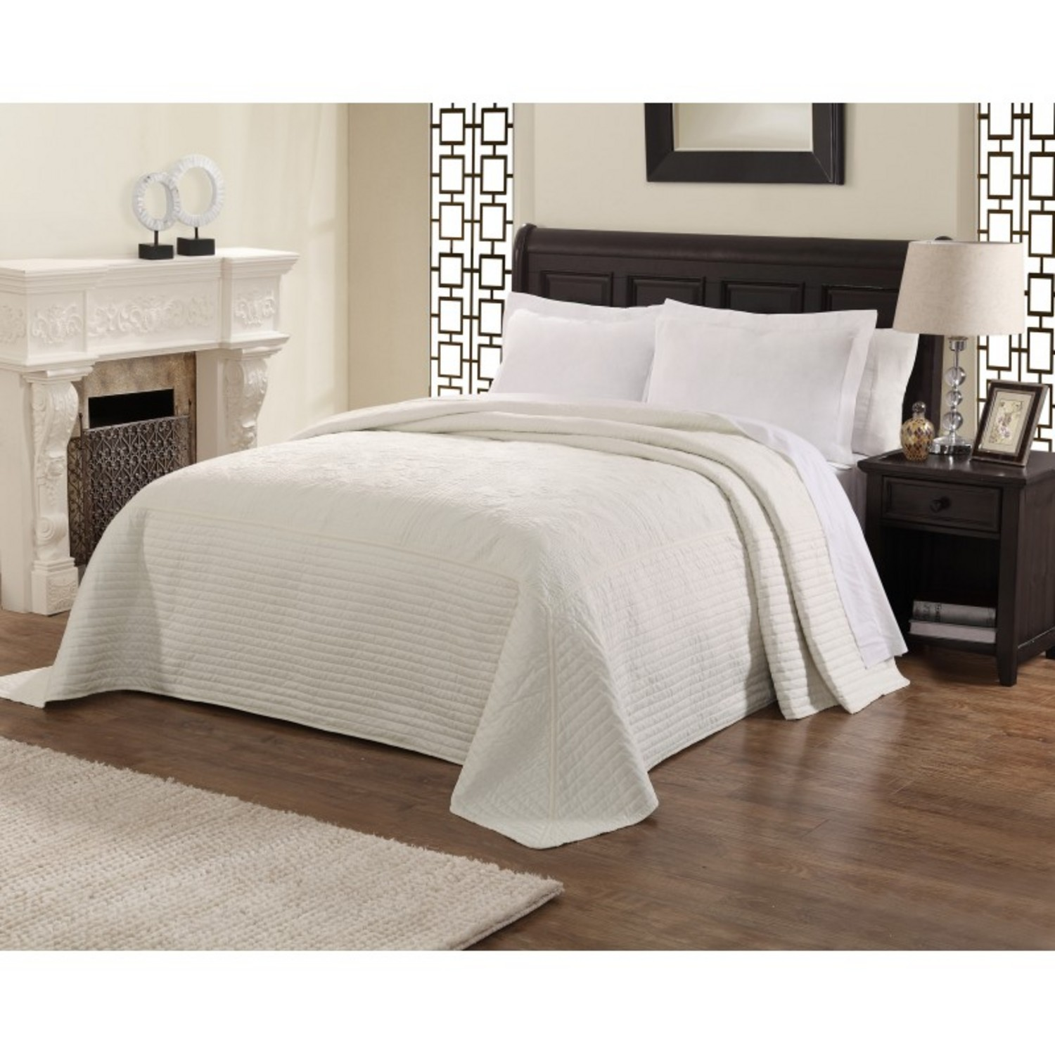 French Tile Quilted White Bedspread By American Traditions
