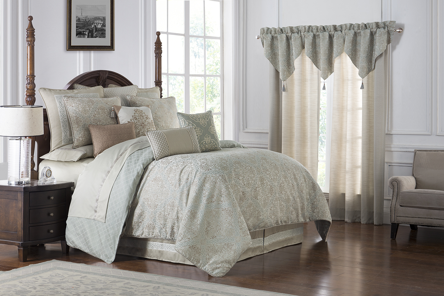 Pale Blue Comforter: Gwyneth Pale Blue By Waterford Luxury Bedding