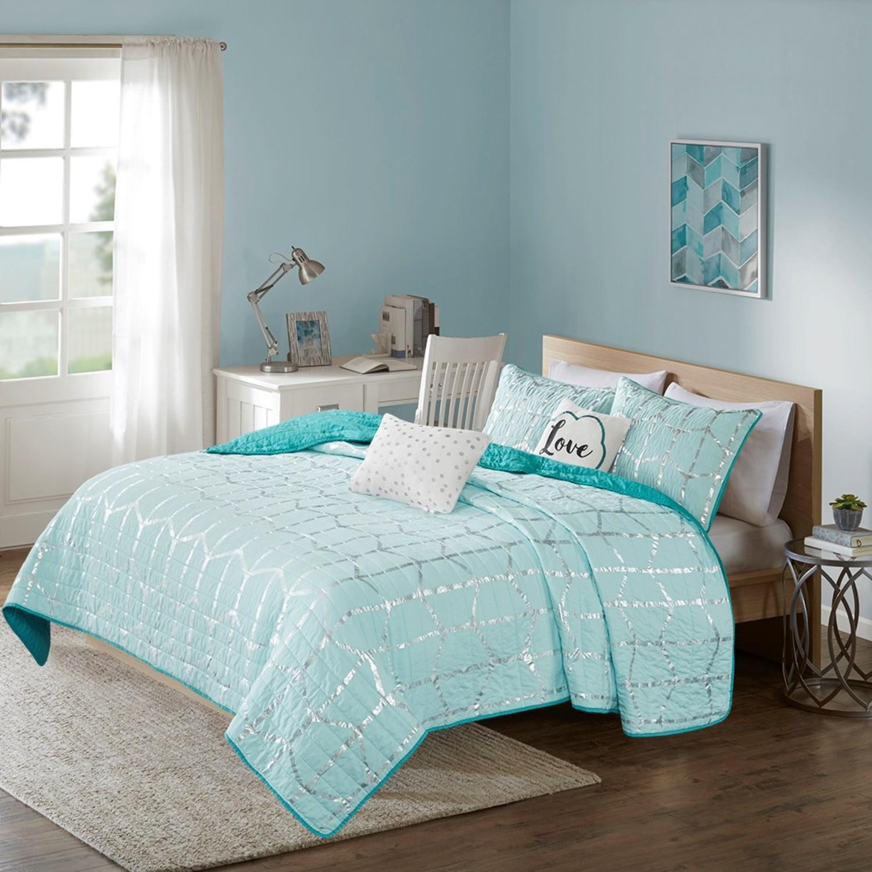 Raina Aqua Coverlet By Intelligent Design Beddingsuperstore Com