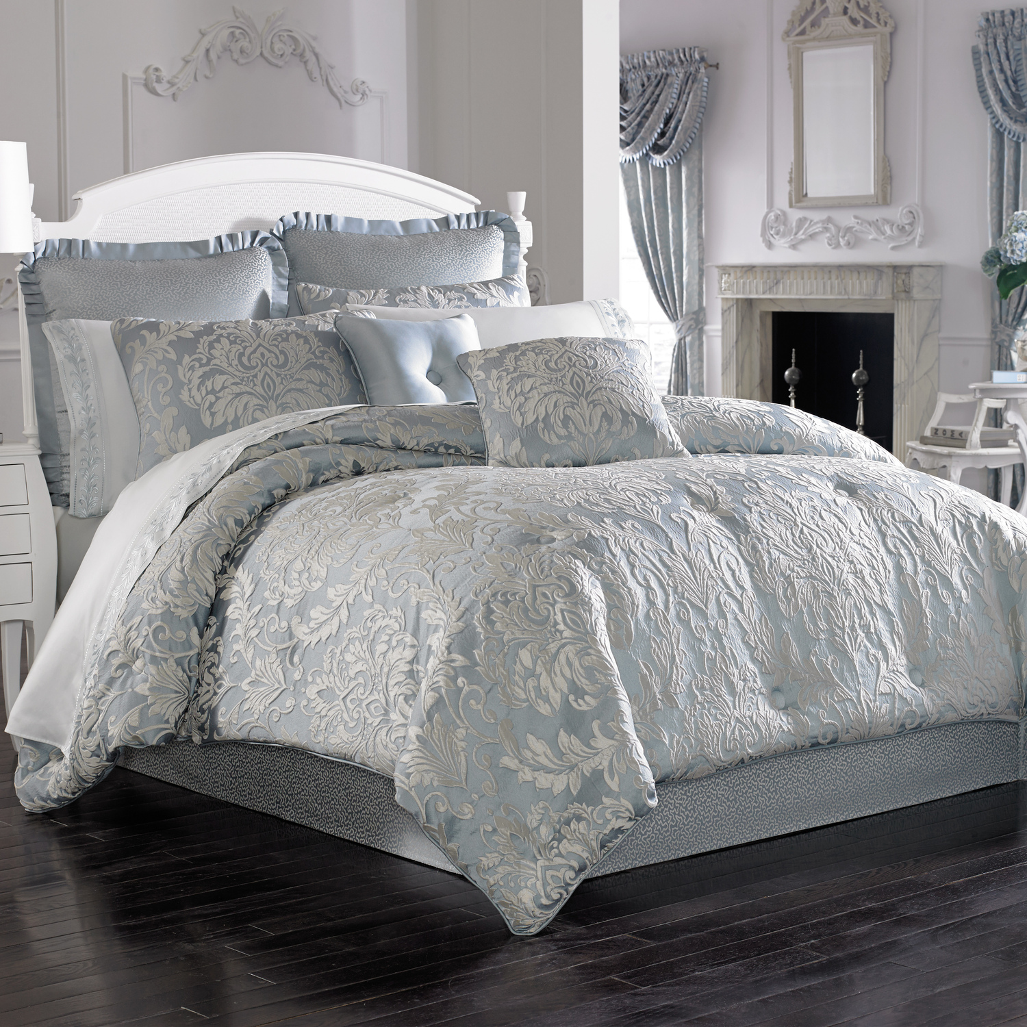 Faith French Blue by Five Queens Court Bedding