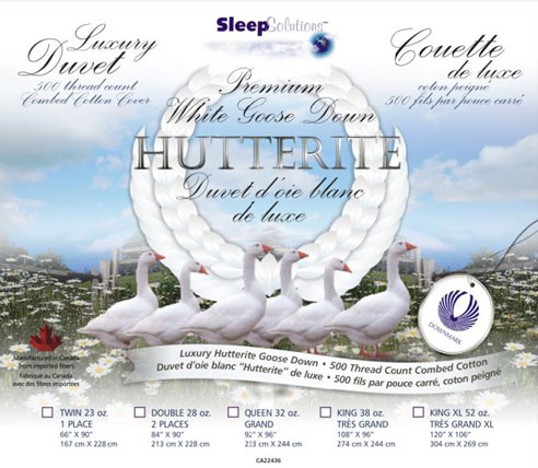 Hutterite White Goose Down Luxury Duvet - BeddingSuperStore com