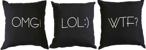Text Styles Lol Omg Amp Wtf Decorative Pillows By Alamode