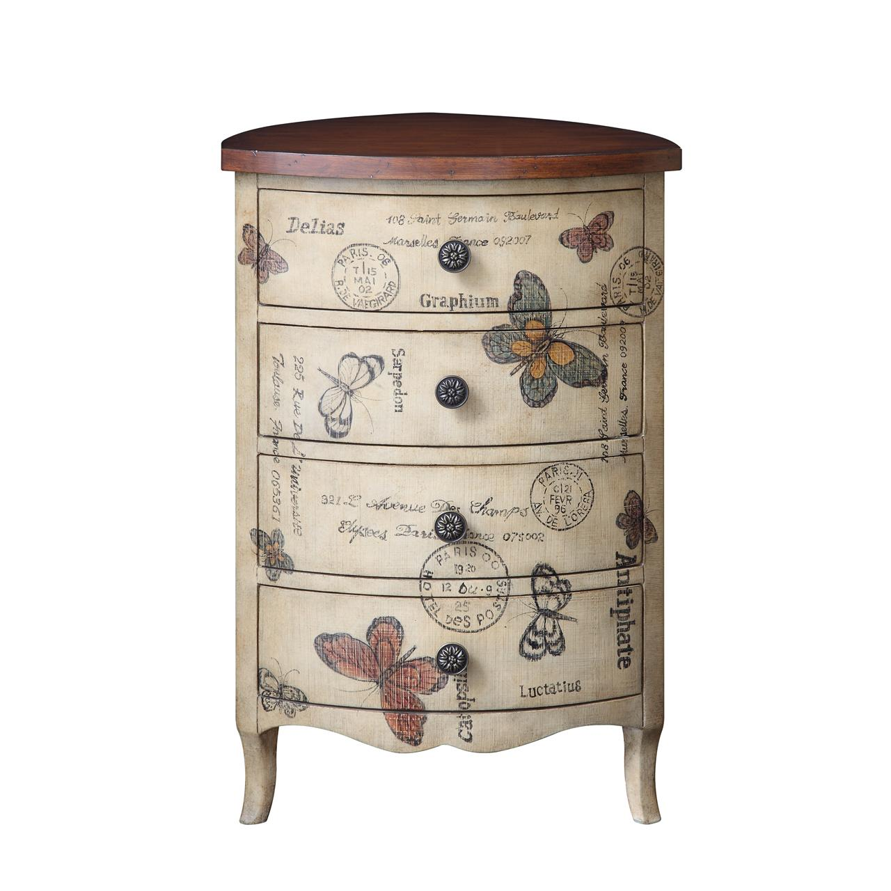 Madison Park Artisan Butterfly 4 Drawer Triangle Accent