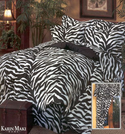 All bedding components are zebra print. Available as complete bedding sets