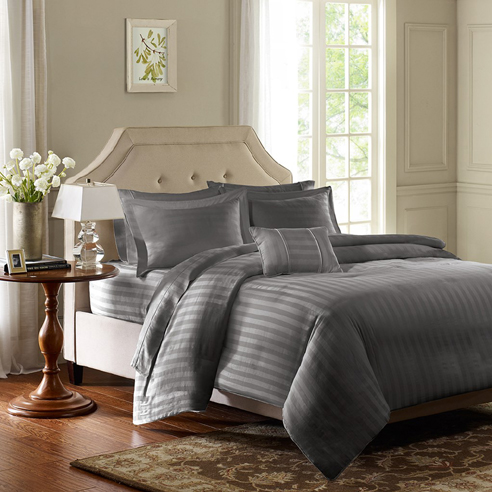 Dobby Stripe Grey By Madison Park Beddingsuperstore Com