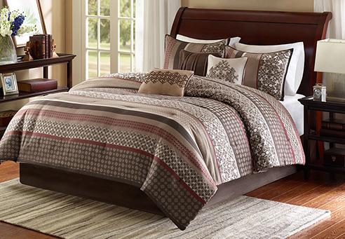 Princeton Red Comforter Set By Madison Park