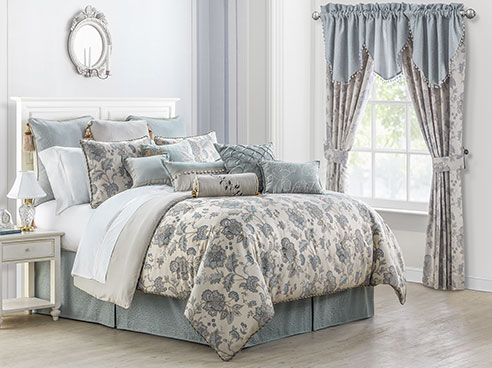 Valerie Sea Blue By Waterford Luxury Bedding