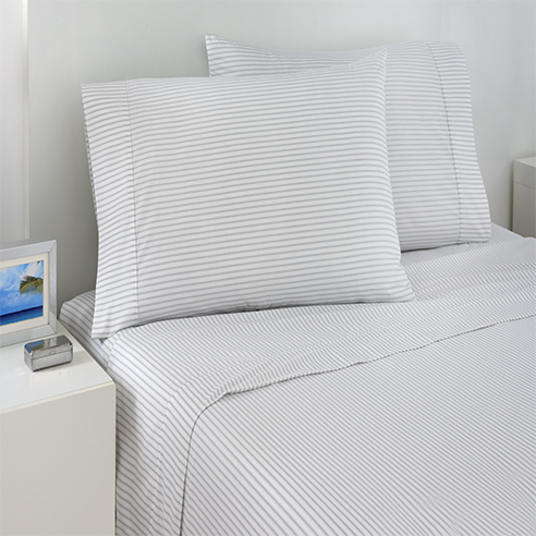 Grey Ticking Stripe Sheet Sets By Izod Bedding