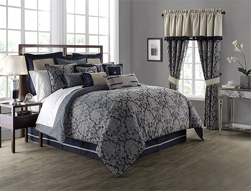 Sinclair Indigo By Waterford Luxury Bedding