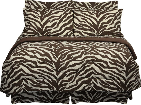This fun new Brown Zebra print bedding evokes images of an African safari