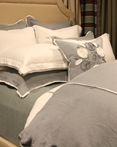 Churchill Linen Blue Mist Ivory by Daniel Stuart Bedding by Daniel Stuart Bedding