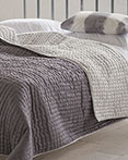 Chenevard Reversible Quilt Chalk & Graphite  by Designers Guild Bedding