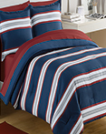 Rugby Stripe Navy/Red  by IZOD Bedding