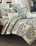 Mira Blue Coverlet by Ink & Ivy Bedding